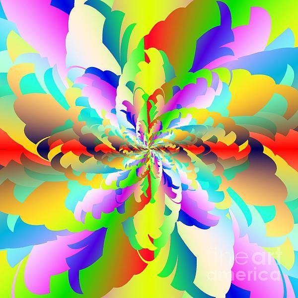 Flamboyant Fractal Fire Flower Print By Michael Skinner