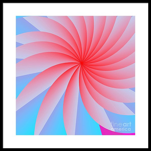 Abstract Framed Print featuring the digital art Pink Passion Flower by Michael Skinner